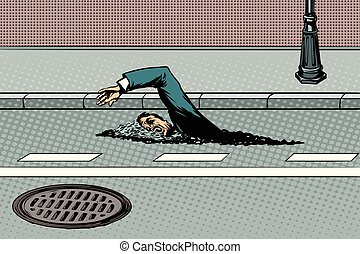 Businessman floating on the road like a river
