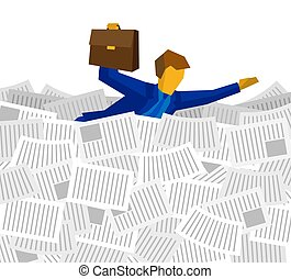 Businessman floating on the sea of papers and documents