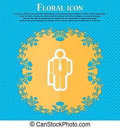 businessman. Floral flat design on a blue abstract background with place for your text. Vector