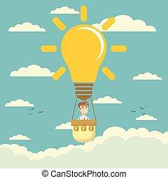 Businessman fly in lightbulb like a hot air balloon