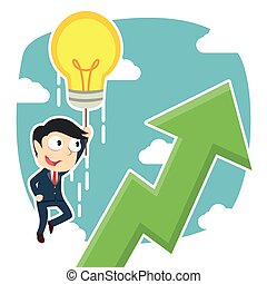 businessman fly with his idea and see upward graphic
