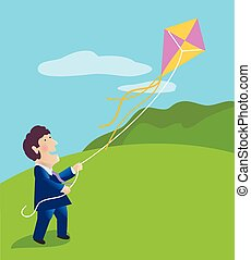 Businessman Flying a Kite