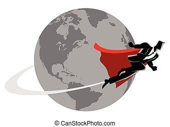 Businessman flying around the world