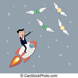 Businessman flying catch money