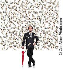 businessman flying dollar bills