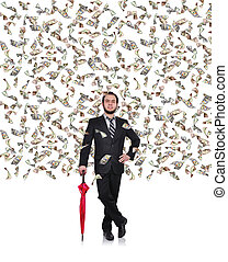 businessman flying dollar bills