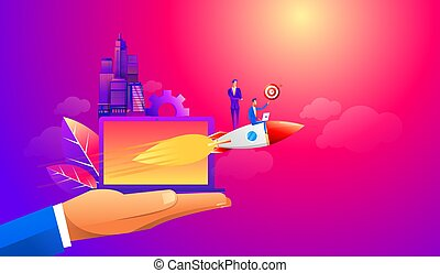 Businessman flying forward with a rocket engine with target idea. Business vector concept illustration