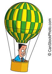 Businessman flying in balloon