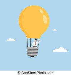 Businessman flying in light bulb balloon. Business idea concept.