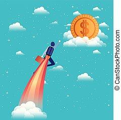 businessman flying in rocket start up