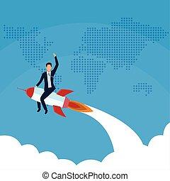 businessman flying in rocket world success start up business