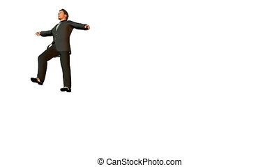 businessman flying looping. no gravity