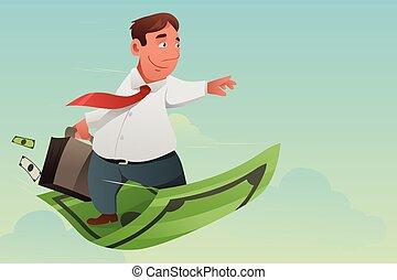 Businessman Flying Off Money Carpet