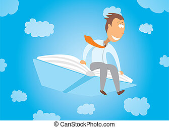 Businessman flying on a book