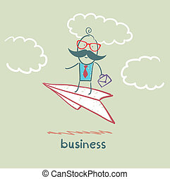 businessman flying on a paper airplane