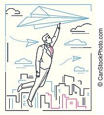Businessman flying on a paper plane - line design style illustration