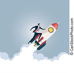 Businessman flying on a rocket, Business startup concept