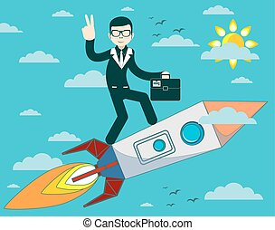 businessman flying on a rocket in blue sky