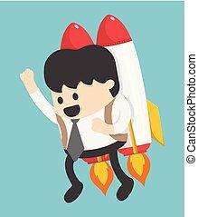 businessman flying on a rocket on blue sky background, business concept