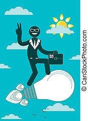 businessman flying on a rocket