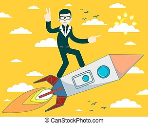 businessman flying on a rocket on sky background