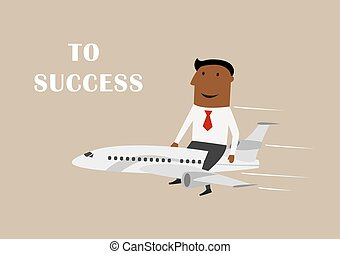 Businessman flying on airplane to success
