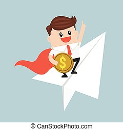 Businessman flying on paper plane and pointing to success.