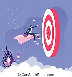 Businessman flying on paper plane go to target. Business concept vector
