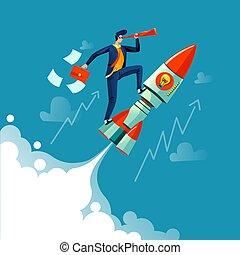 Businessman flying on rocket business concept