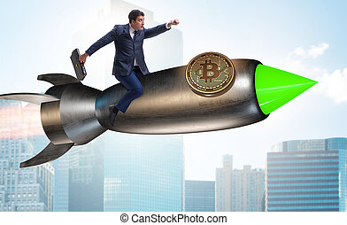 Businessman flying on rocket in bitcoin price rising concept...