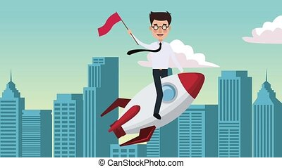 Businessman flying on spaceship HD animation