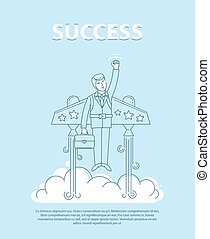 Businessman flying on the jetpack to success. Line style vector  illustration. Business concept of success.