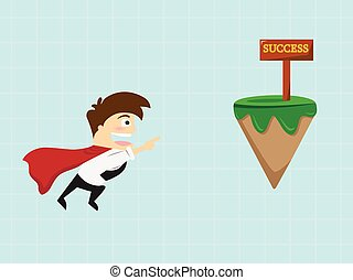 Businessman flying to success sign .vector illustration
