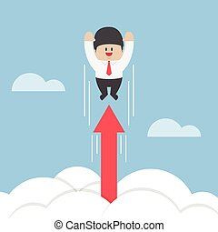 Businessman flying up through the clouds with growth arrow