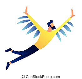 Businessman flying up vector illustration.