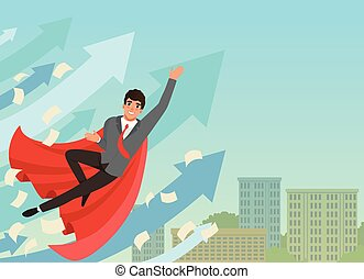 Businessman flying up with growing statistics arrows. Successful young worker in formal suit and red superhero cloak. Blue sky and office building on background. Flat vector