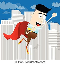 Businessman flying up with red cape as a superhero.