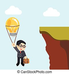 businessman flying with balloons