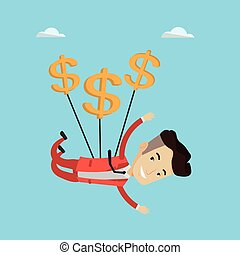 Businessman flying with dollar signs. Happy businessman...