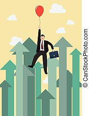 Businessman flying with red balloon against growing up arrows