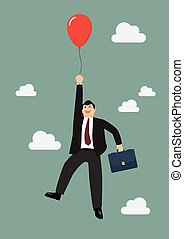 Businessman flying with red balloon