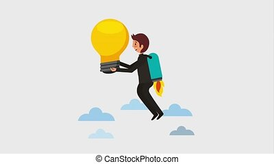 businessman flying with rocket holding bulb