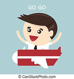 Businessman flying with small jet, flat design, vector