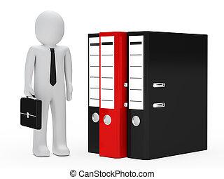 businessman folder - businessman with briefcase stand next...