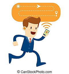 Businessman Following Direction Using a Smart Phone