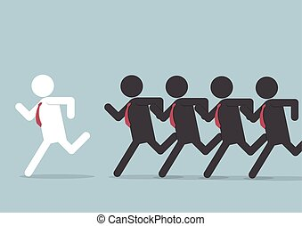 Businessman following leader