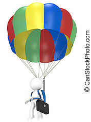 3D little human character with a Parachute and Briefcase. People series.