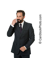 Businessman formal suit mature man isolated white. Businessman bearded thoughtful entrepreneur. Thoughtful businessman concept. Businessman thoughtful face make decision. Hard business decision
