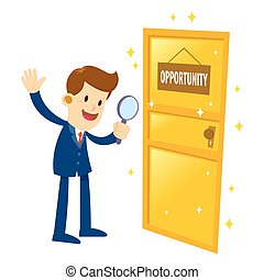 Businessman Found A Golden Opportunity Door