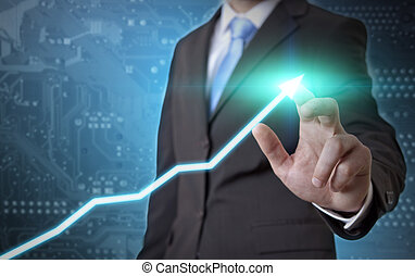 Businessman fraph concept - Businessman drawing a graph on a...